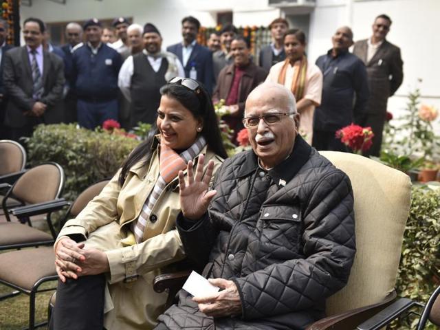 Senior BJP leader LK Advani addresses media persons at his residence in New Delhi on Tuesday.