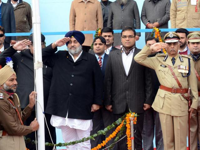 Deputy chief minister Sukhbir Singh Badal salutes the national flag at the Republic Day function in Bathinda on Tuesday.
