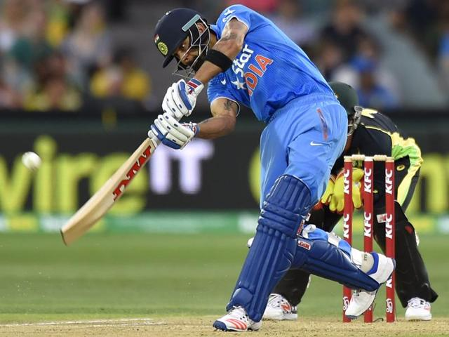 Virat Kohli of India bats during the first Twenty20 cricket international between India and Australia at the Adelaide Oval in Adelaide on January 26, 2016.