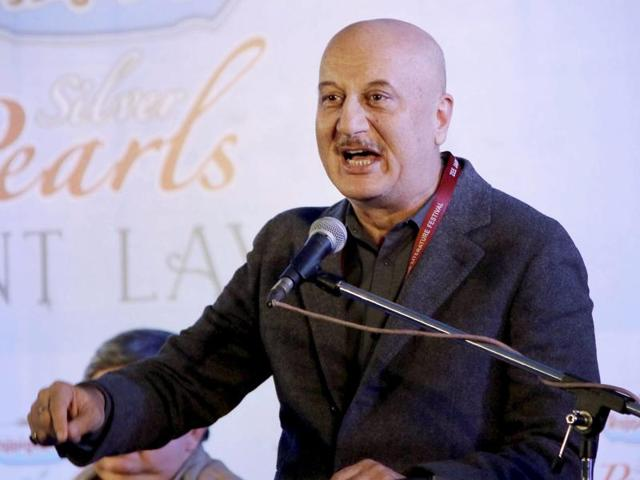 Bollywood actor Anupam Kher speaks during a session at the Jaipur Literature Festival at Diggi Palace in Jaipur. Kher was awarded the Padma Bhushan 12 years after he was received the Padma Shri in 2004.
