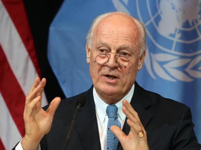 In this file photo, UN special envoy for Syria Staffan de Mistura speaks during a news conference in Vienna. The UN has affirmed that only Syrians have been invited to peace talks in Geneva.