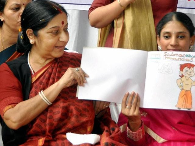 Foreign minister Sushma Swaraj with Geeta at Indore Deaf Biligual Academy in Indore .
