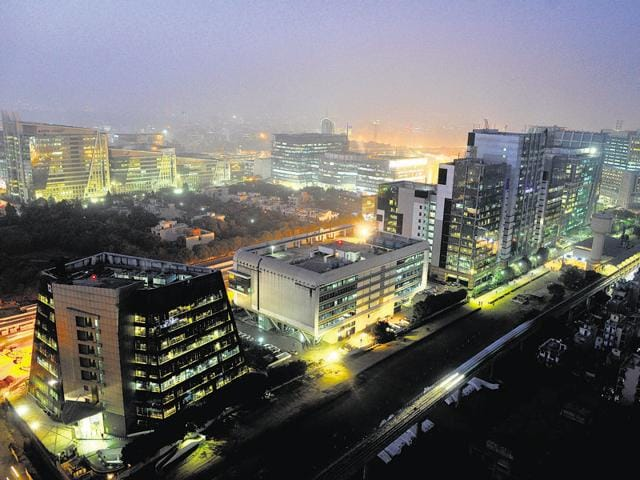 Gurgaon is home to more than 250 Fortune500 companies and is considered one of the biggest corporate hubs in the country.(Abhinav Saha/HT Photo)