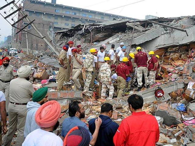 As many as 23 workers of the factory had died under the debris and more than 50 suffered injuries in the collapse.(HT File Photo)