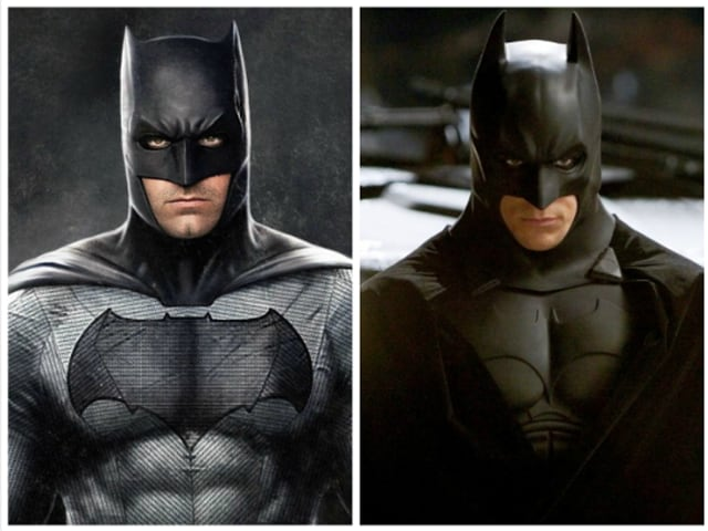 Ben Affleck and Christian Bale as Batman.