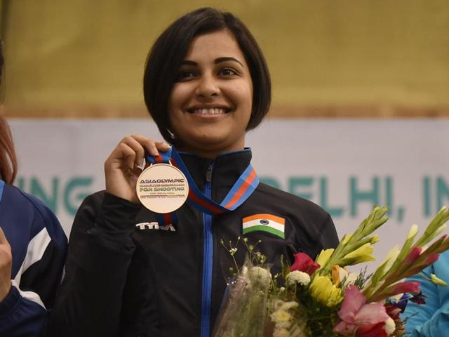 Heena Sidhu qualified for the 10m air pistol final after she totaled 387 points during the qualification round.