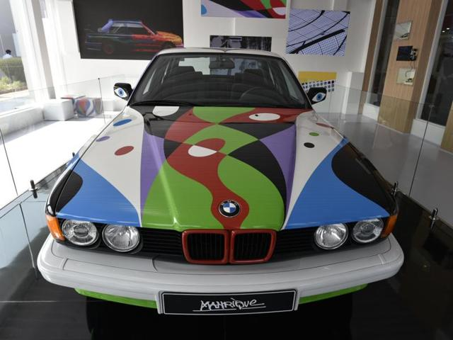 The tenth BMW Art Car César Manrique 1990 BMW 730i was exclusively unveiled at India Art Fair in New Delhi on Thursda