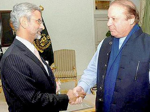 File photo of Indian foreign secretary S Jaishankar with Pakistan Prime Minister Nawaz Sharif in Islamabad.