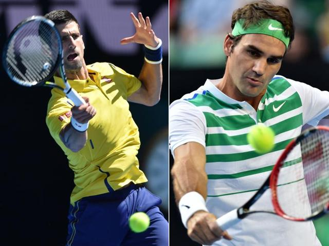 Novak Djokovic (L) and Roger Federer (R) will clash for the 45th time in their careers on January 28, 2015, for a place in the Australian Open final.