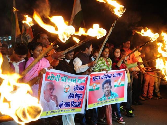 Youth Congress workers in Bhopal take out a rally protesting against the death of Rohith Vemula.