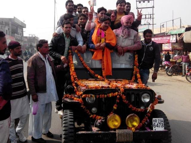 The victory procession of Aditya Devi Lal, who defeated Kanta Chautala, the wife of leader of Opposition in the assembly Abhay Chautala, after declaration of results in Sirsa on Thursday.