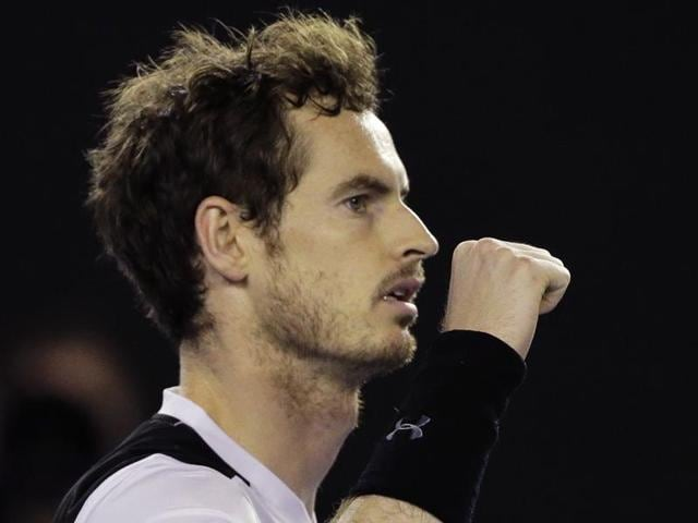 Andy Murray celebrates after defeating Milos Raonic during their semifinal match at the Australian Open.