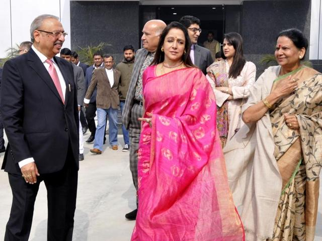 Member of parliament and actress Hema Malini, at a private function, in Noida , India.