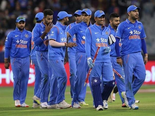 India leave the field after their victory against Australia during their T20 cricket match at the MCG.