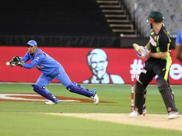 Australia's Aaron Finch batting against India during their T20 cricket match at the Melbourne Cricket Ground.