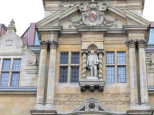 The statue of Cecil Rhodes is seen on the facade of Oriel College in Oxford, southern England, in this file photograph dated December 30, 2015.
