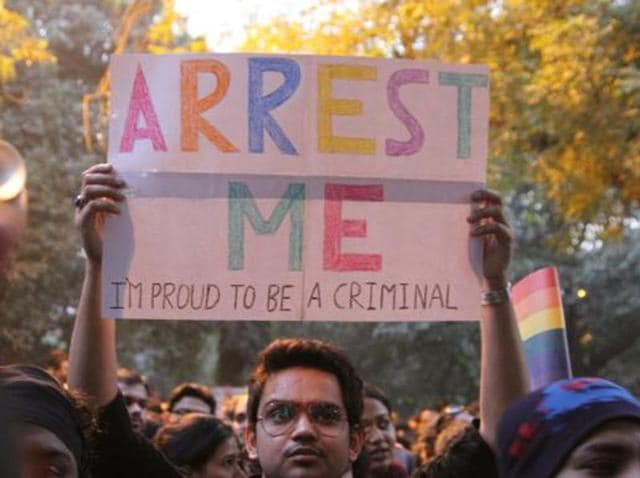 LGBT activists protest against Supreme Court's judgement on Section 377 at Jantar Mantar, in New Delhi.