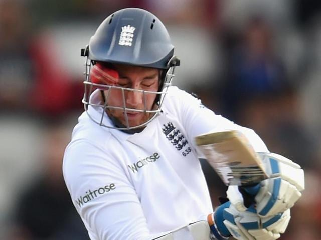 England batsman Stuart Broad is hit by a ball through the grill of his helmet from Varun Aaron.