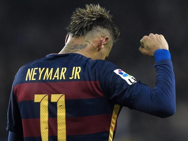 Neymar and Luis Suarez celebrates a goal against Athletic Bilbao.