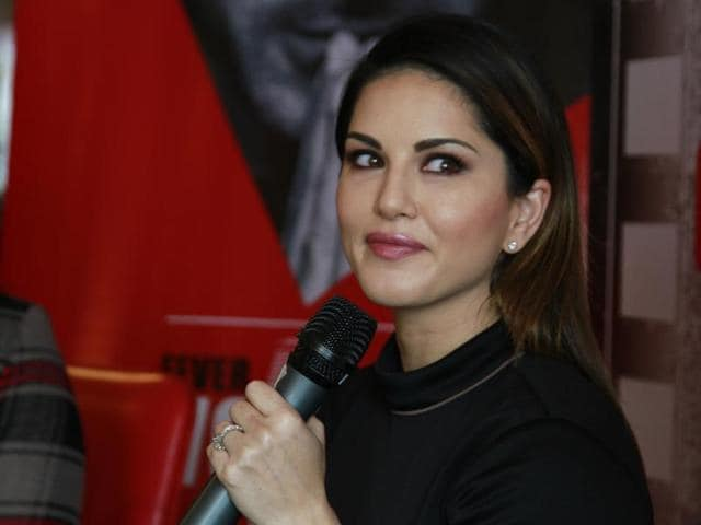 Indo-Canadian actress, model and former adult movie star Sunny Leone speaking during a promotional event for her newest Bollywood flick Mastizaade.