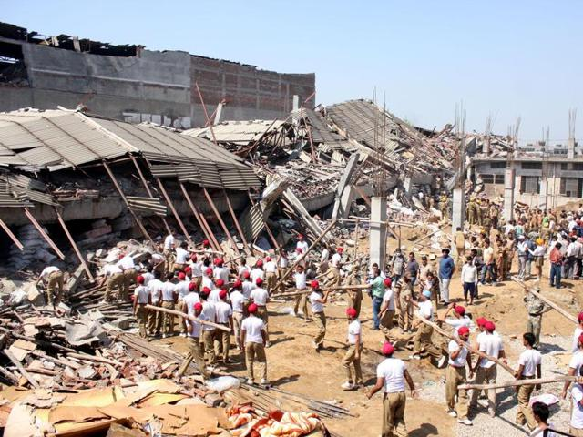 The rubble after the factory collapsed in April 2012 in Jalandhar.