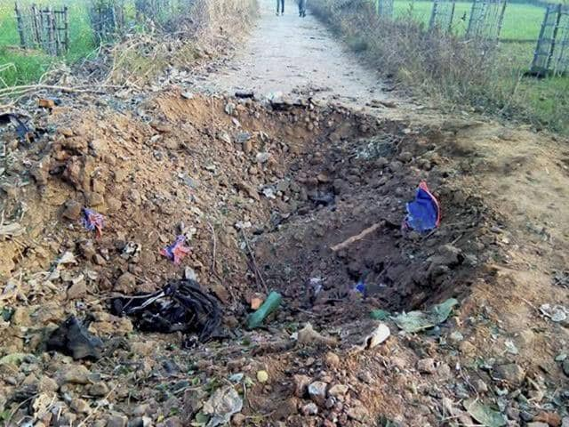 A crater is formed at the spot where Maoists had planted landmine to attack a police vehicle in Palamu, Jharkhand on Thursday.