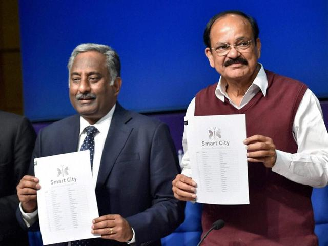 Union minister of urban development M Venkaiah Naidu releases the list of 20 smart cities at a press conference in New Delhi on Thursday.