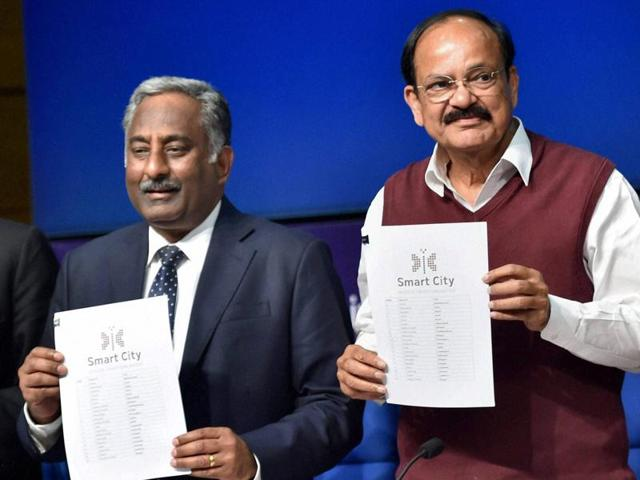 Minister of urban development M Venkaiah Naidu releases the list of 20 smart cities at a press conference in New Delhi on Thursday.
