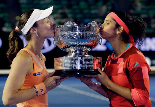 Sania Mirza and Switzerland's Martina Hingis win the second successive women's doubles Grand Slam