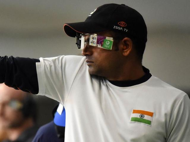 Shooter Vijay Kumar in action during the 25m rapid fire pistol in Asian Olympic Qualifying Competition.
