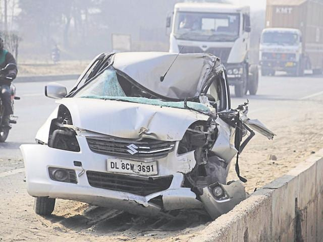 The accident took place near Panchgaon Chowk, around 14 kilometres from the Kherki Daula toll plaza, on Thursday morning.  (Above) One of the cars involved in the mishap.