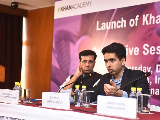 Salman Khan (right) at the launch of Khan Academy's free online tutorials in Hindi in India.