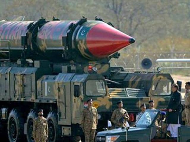 A Pakistani missile capable of carrying nuclear arms on display during a parade.