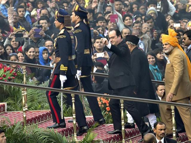 Hollande was the guest of honour for this year's celebration of the 67th Republic Day.
