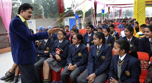 Ramendra Kumar during the Children's Literature Festival at Zirakpur .