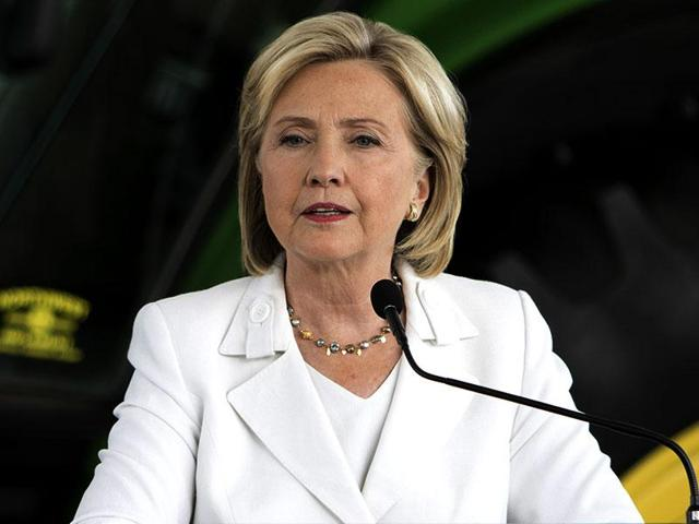 File photo of Democrat Hillary Clinton, speaking at a press conference at Des Moines Area Community College in Ankeny, Iowa.
