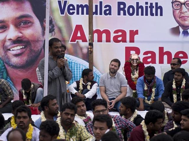 Congress vice-president Rahul Gandhi interacts with agitating students at University of Hyderabad on Saturday.