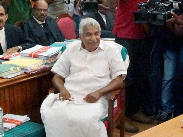 Kerala chief minister Oommen Chandy appears before the solar inquiry commission in Thiruvananthapuram.