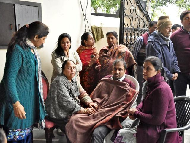 Grieving members of the victims' family in Ludhiana on Friday.