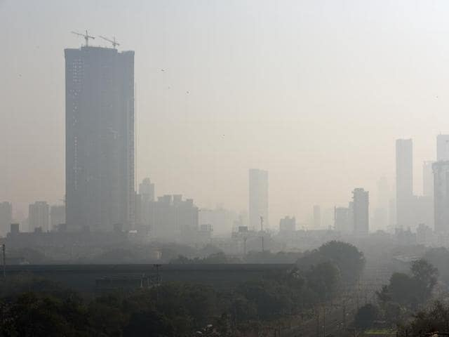 City buildings are seen in heavy smog at Lower Parel in Mumbai.