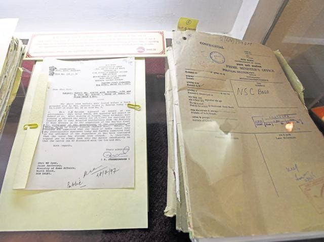The declassified files at the National Archives of India in New Delhi on Saturday.