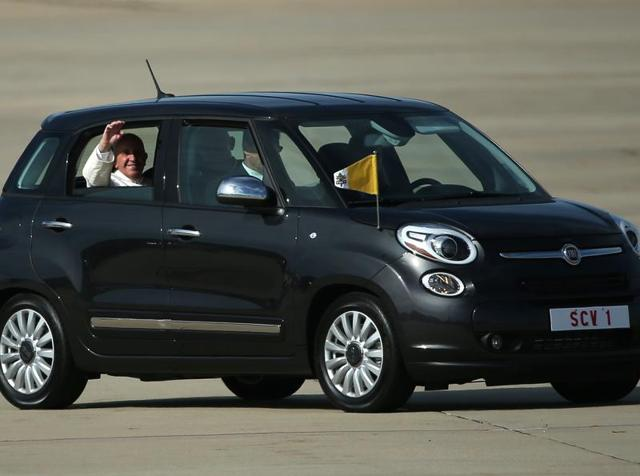 Pope Francis travelled in a Fiat 500L through Philadelphia during his historic first visit to the United States.