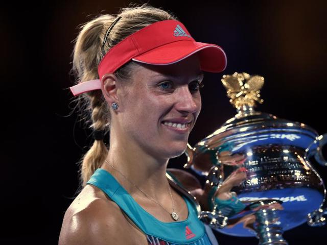 Germany's Angelique Kerber celebrates after victory her in the Women's final match at the Australian Open against Serena Williams.(AFP Photo)