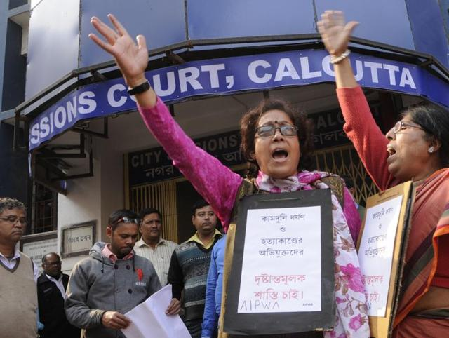 Members of All India Progressive Women Association demonstrating against the Kamduni rape and murder case accused at city session court in Kolkata.