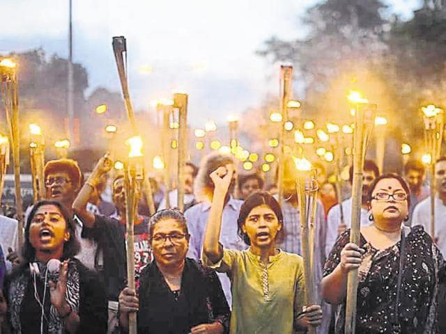Athiest blogger Shammi Haque (centre) at a rally in Dhaka.