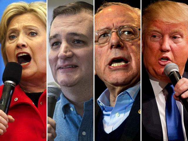 From left: US Presidential race candidates Hillary Clinton, Ted Cruz, Bernie Sanders, Donald Trump. On Monday, the US presidential campaign will officially begin with the Iowa caucus.