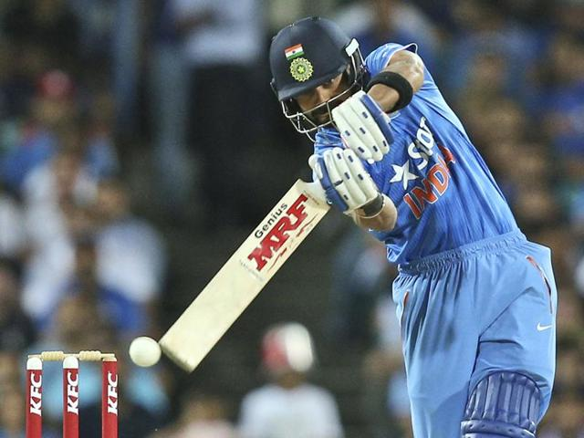 Rohit Sharma of India bats during the third Twenty20 international cricket match between India and Australia.