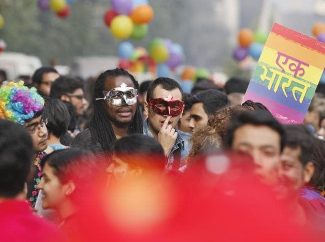 "New Delhi, India – 2015 November 29: LGBT (Lesbian, Gay, Bisexual and Transgender) activists and supporters celebrated during the 8th Anniversary of the"" DELHI QUEER PRIDE ""march from Barakhamba Road to Jantar Mantar on November 29, 2015 in New Delhi, India, on Sunday. (Photograph by Raj k Raj/Hindustan Times)"