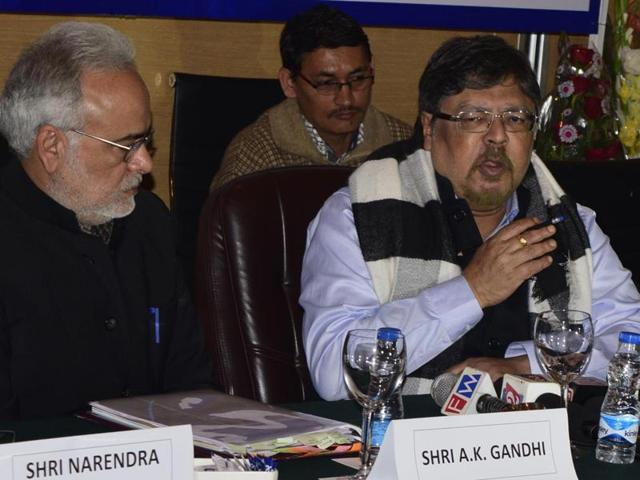 PSCC chairman Chandan Mitra addresses a press conference in Amritsar on Saturday.