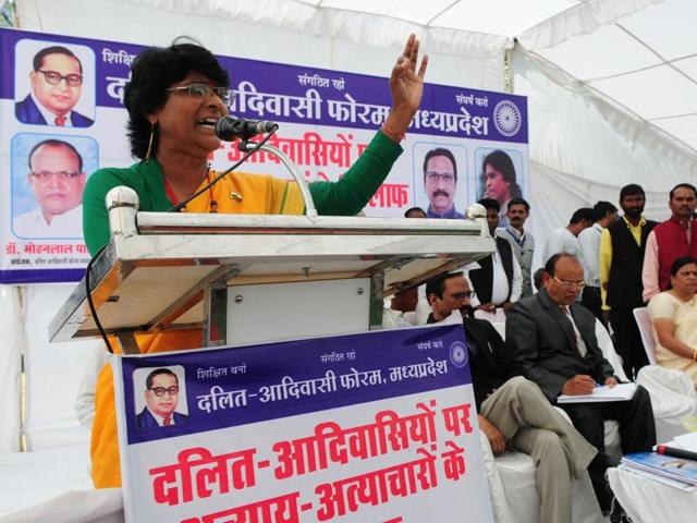 Dalit IAS officer Shashi Karnawat addresses a gathering during a dharna organised by Dalit-Adivasi forum in Bhopal.